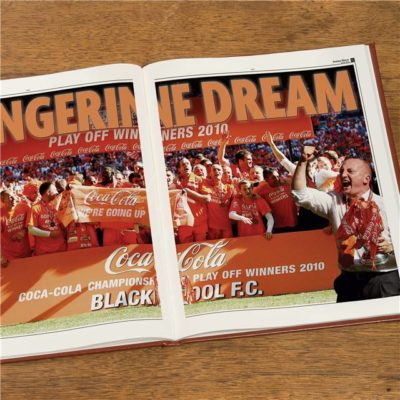 blackpool football newspaper book brown leatherette colour pages