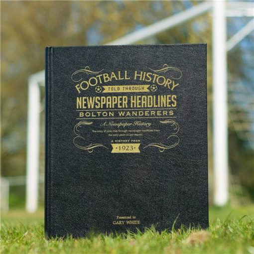 bolton football newspaper book black leather cover