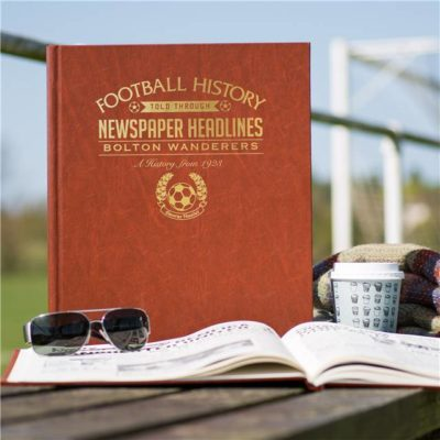 bolton football newspaper book brown leatherette colour pages