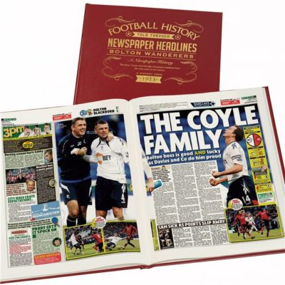 bolton football newspaper book red leather cover
