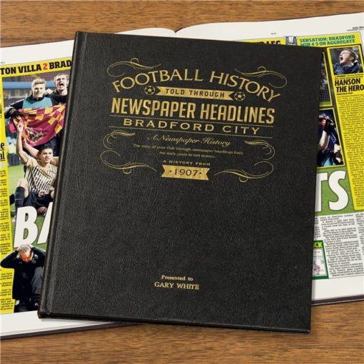 bradford football newspaper book black leather cover