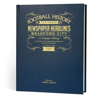 bradford football newspaper book blue leather cover