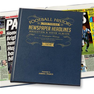 brighton football newspaper book blue leather cover