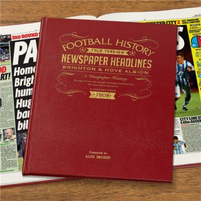 brighton football newspaper book red leather cover
