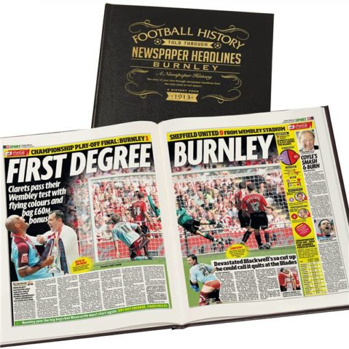 burnley football newspaper book black leather cover