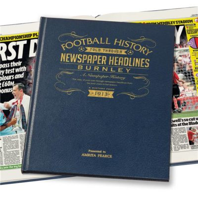 burnley football newspaper book blue leather cover