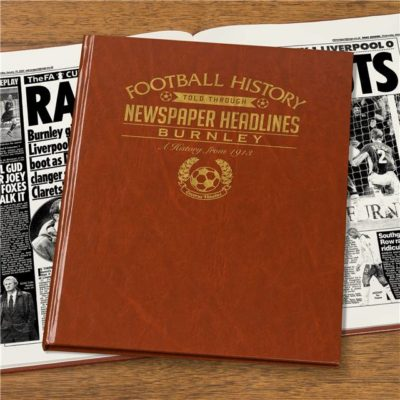 burnley football newspaper book brown leatherette