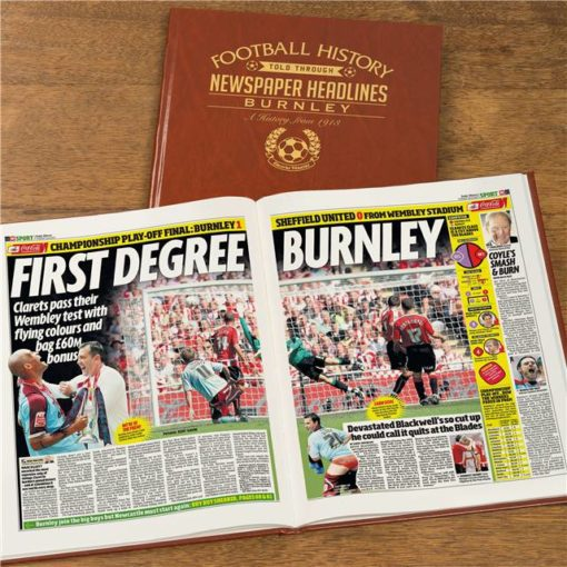 burnley football newspaper book brown leatherette colour pages