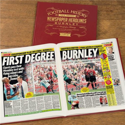 burnley football newspaper book red leather cover