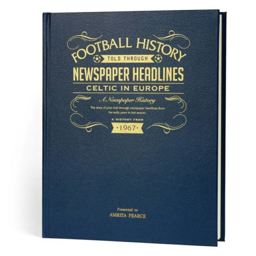 celtic europe football newspaper book blue leather cover