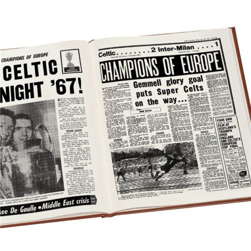 celtic europe football newspaper book brown leatherette