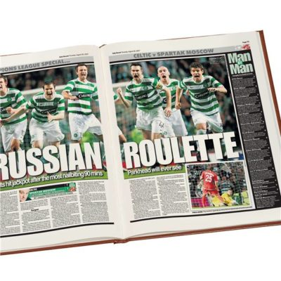 celtic europe football newspaper book brown leatherette colour pages