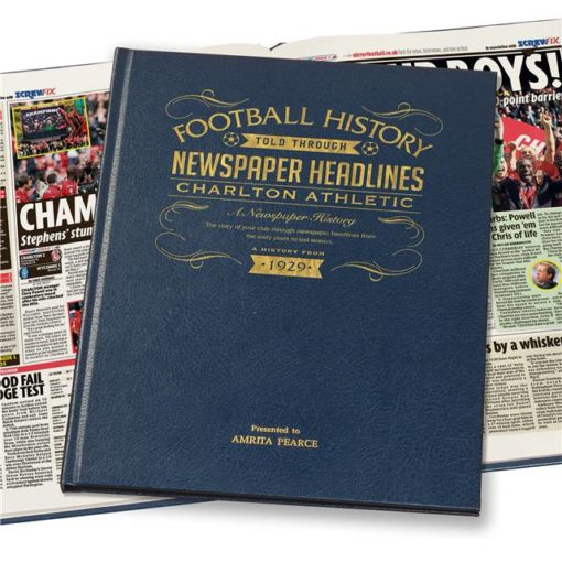 charlton football newspaper book blue leather cover