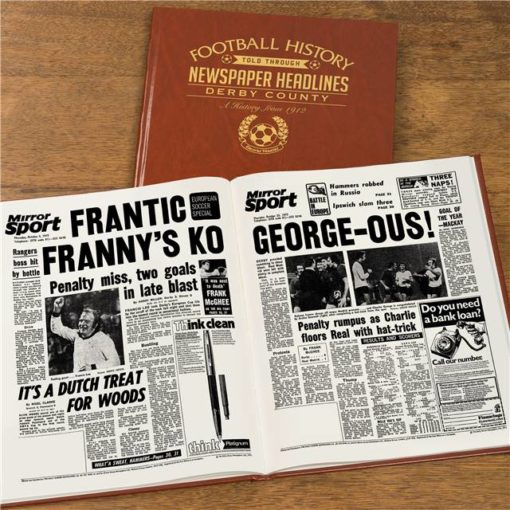 derby county football newspaper book brown leatherette