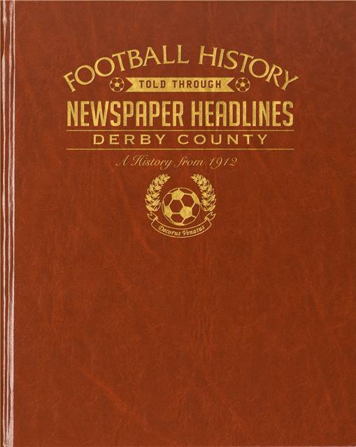 derby county football newspaper book brown leatherette colour pages