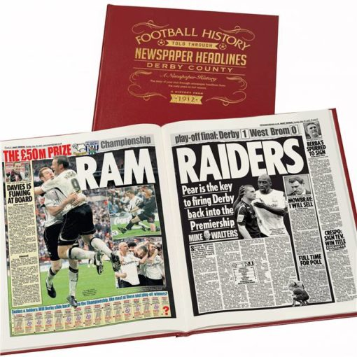 derby county football newspaper book red leather cover