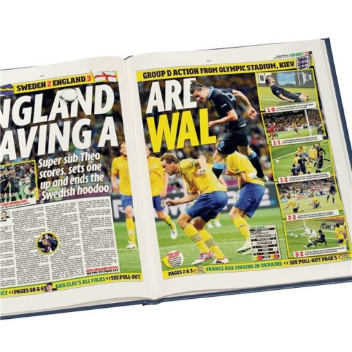 england int football newspaper book blue leather cover