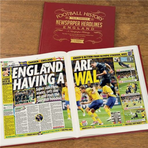 england int football newspaper book red leather cover