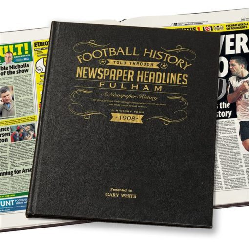 fulham football newspaper book black leather cover