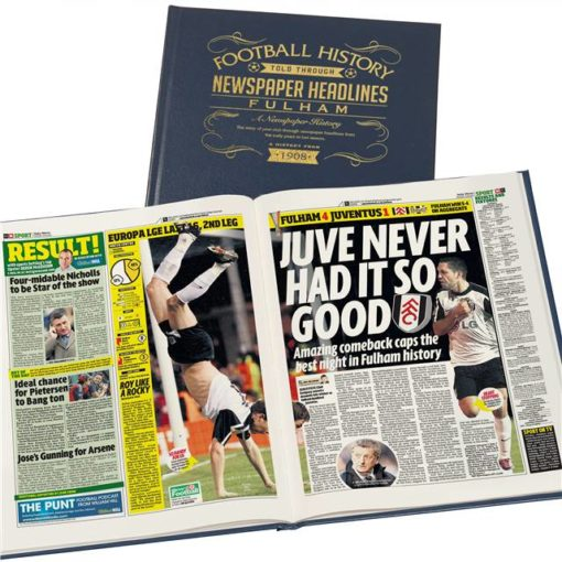 fulham football newspaper book blue leather cover