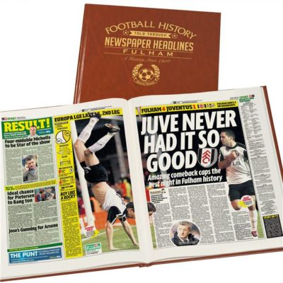 fulham football newspaper book brown leatherette colour pages