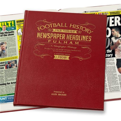 fulham football newspaper book red leather cover