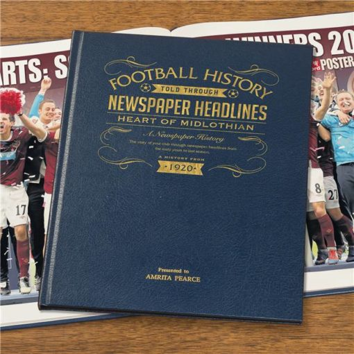 hearts football newspaper book blue leather cover