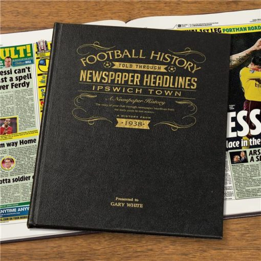 ipswich football newspaper book black leather cover
