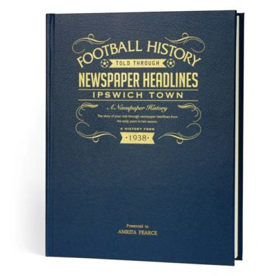 ipswich football newspaper book blue leather cover