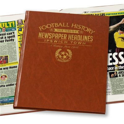 ipswich football newspaper book brown leatherette colour pages