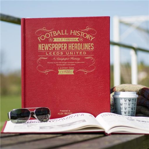 leeds football newspaper book red leather cover
