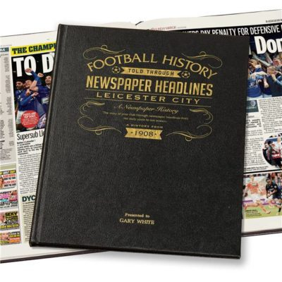 leicester city newspaper book black leather cover