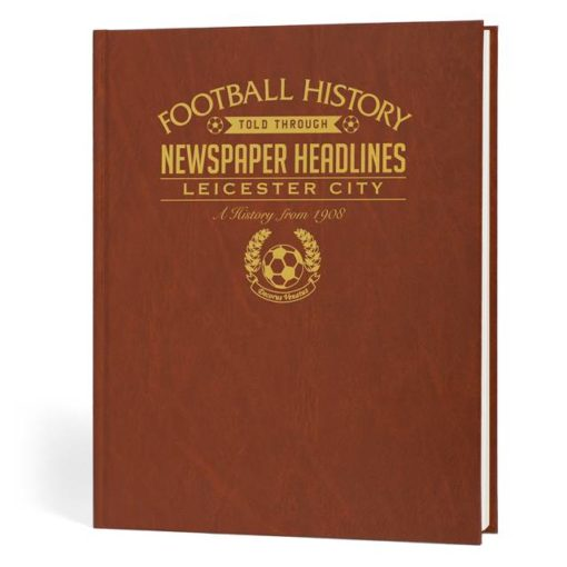 leicester city newspaper book brown leatherette