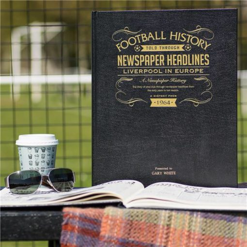 liverpool in europe newspaper book black leather cover