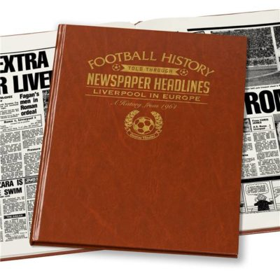 liverpool in europe newspaper book brown leatherette