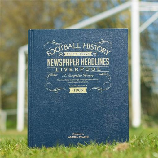 liverpool newspaper book blue leather cover