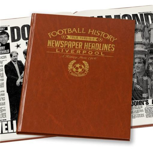 liverpool newspaper book brown leatherette