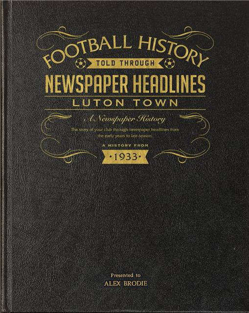 luton town newspaper book black leather cover