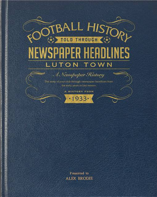 luton town newspaper book blue leather cover