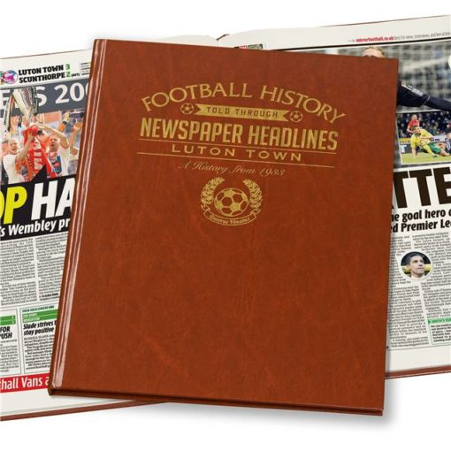 luton town newspaper book brown leatherette colour pages