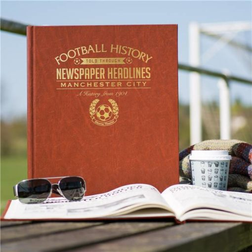 manchester city newspaper book brown leatherette