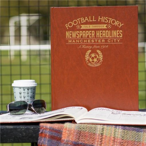 manchester city newspaper book brown leatherette colour pages
