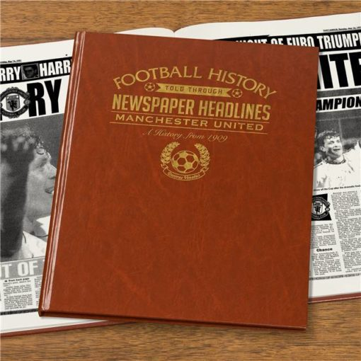 manchester united newspaper book brown leatherette