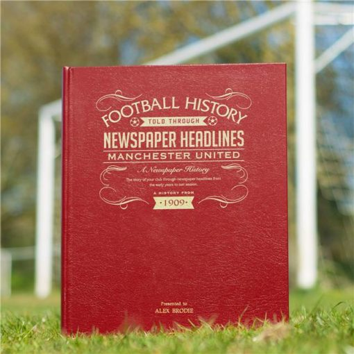 manchester united newspaper book red leather cover
