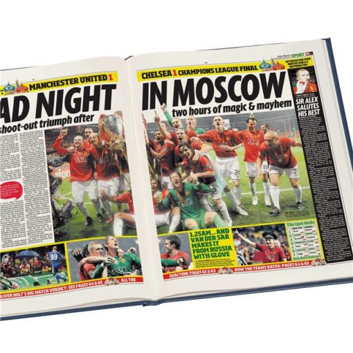 manchester utd europe newspaper book blue leather cover