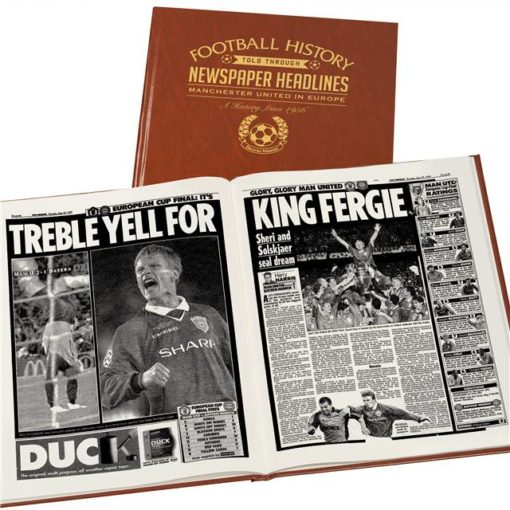 manchester utd europe newspaper book brown leatherette
