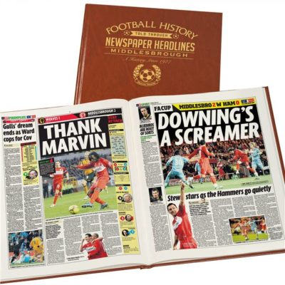 middlesbrough newspaper book brown leatherette colour pages
