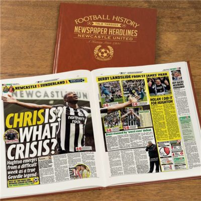 newcastle newspaper book brown leatherette colour pages