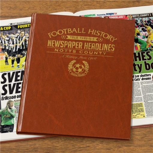 notts county newspaper book brown leatherette colour pages