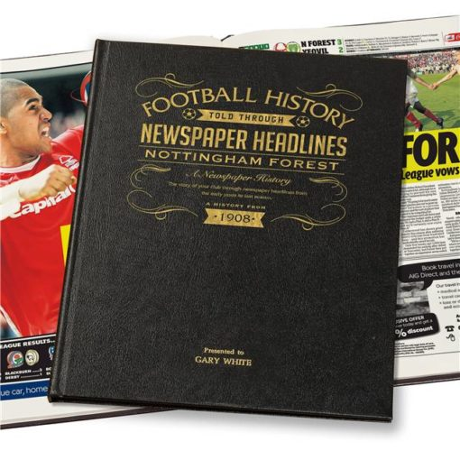notts forest newspaper book black leather cover